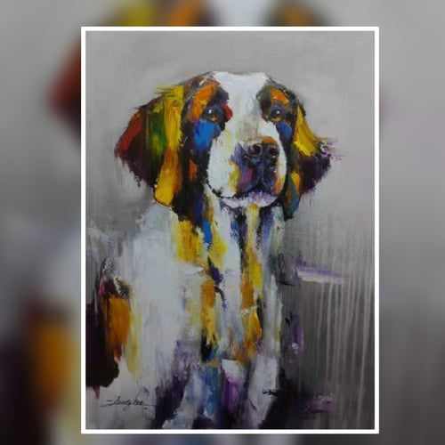 Duke the cute dog multi colour oil painting on canvas by London Artlife