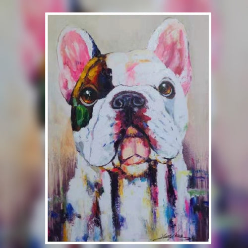 Jasper the cute dog multi colour oil painting on canvas by London Artlife
