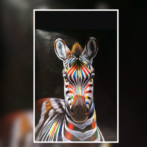 Stripy the Zebra Eye to Eye multi coloured oil painting on Canvas by London Artlife