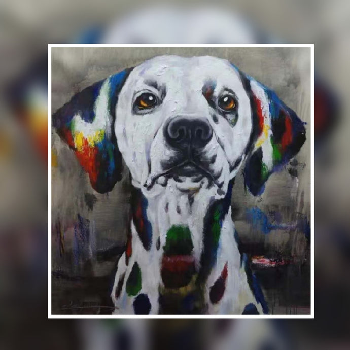 Spotty the cute dog multi colour oil painting on canvas by London Artlife