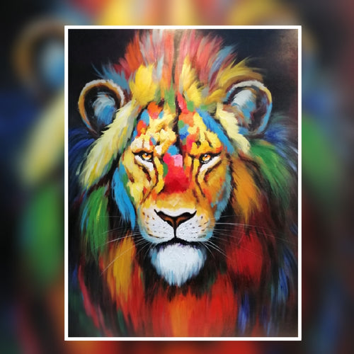 Leo the Pride Lion multi colour oil painting on canvas by London Artlife