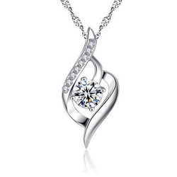 Women Ribbon Necklace -  White Gold Plated Cubic Zirconia Pendant Necklace #WHHeart01