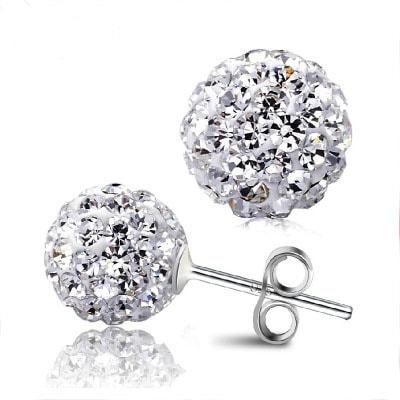 Sterling Silver 8mm Ball Stud Earring -  White Gold Plated Cubic Zirconia Stud Earrings #WHB48