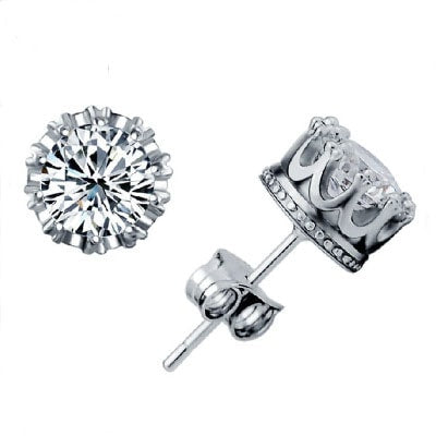 Women Crown Stud Earring -  White Gold Plated Cubic Zirconia Stud Earrings #WHB72