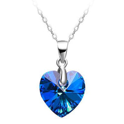 Women Sterling Silver Heart Necklace -  White Gold Plated Blue Crystal Pendant Necklace #DMLA184