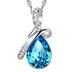 Women Blue Drop Necklace -  White Gold Plated Crystal Pendant Necklace #WHA93