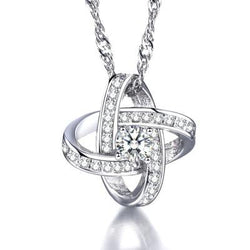 Women Windmill Necklace -  White Gold Plated Cubic Zirconia Pendant Necklace #WHWindmill01