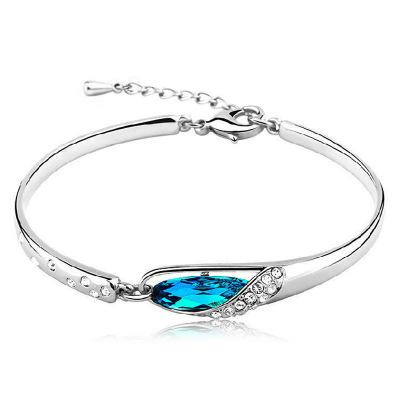 Women Blue Crystal Bracelet -  White Gold Plated Blue Crystal Bangles #WHD25