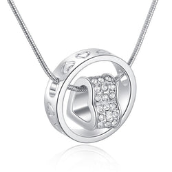 Women Forever Love Heart Ring Necklace  -  White Gold Plated CZ Necklace #WLN01-S