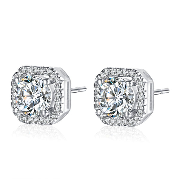 Women Square Halo Stud Earring -  White Gold Plated Cubic Zirconia Stud Earrings #WLE187