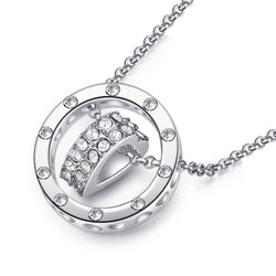 Women Forever Love Heart Ring Necklace  -  White Gold Plated CZ Necklace #WLN134-S