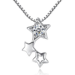 Women Star Necklace -  White Gold Plated Cubic Zirconia Pendant Necklace #WHStar01