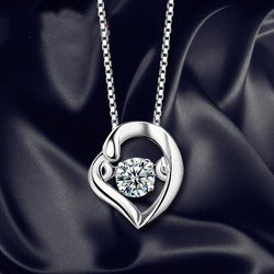 Women Sterling Silver Heart Necklace -  White Gold Plated Cubic Zirconia Pendant Necklace #HLHD0158
