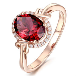 Women Round Cut Red Crystal Halo Ring - Rose Gold Plated Cubic Zirconia Ring #ZRR436