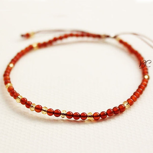 Natural Red Onyx Diamond Cut Beads Bracelet for Healing #dabu9108