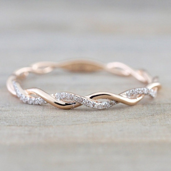 Women Twist Ring - Rose Gold Plated Cubic Zirconia Ring #ZRR397