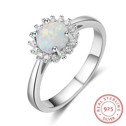 Sterling Silver White Opal Women's Ring - White Gold Plated Cubic Zirconia Ring #HLFRI103427