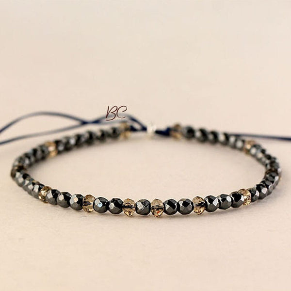 Natural Black Onyx Diamond Cut Beads Bracelet for Protection #dabu9347