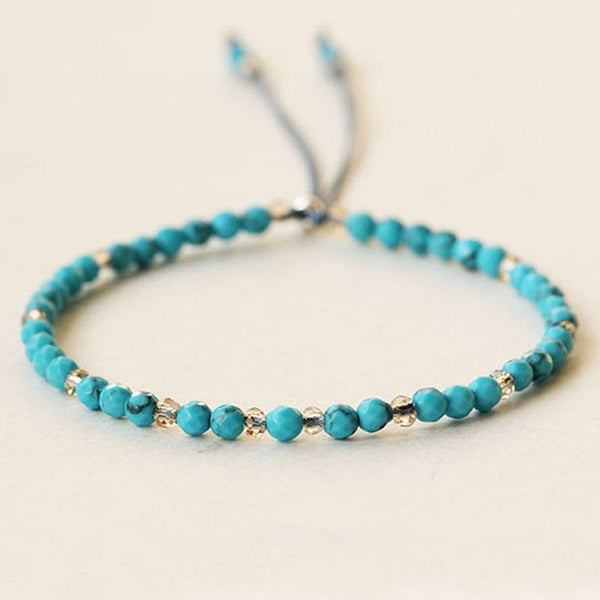 Natural Turquoise Diamond Cut Beads Bracelet for Healing #dabu9437