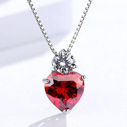 Women Sterling Silver Heart Necklace -  White Gold Plated Red Crystal Pendant Necklace #DMLA100