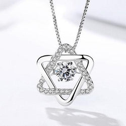 Women Sterling Silver Hexagram Necklace -  White Gold Plated Cubic Zirconia Pendant Necklace #DMLA692
