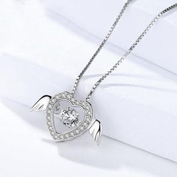 Women Sterling Silver Heart Necklace - White Gold Plated Cubic Zirconia Pendant Necklace #DMLA870