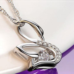 Women Sterling Silver Swan Necklace -  White Gold Plated Cubic Zirconia Pendant Necklace #HLHD0160