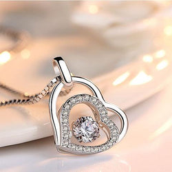 Women Sterling Silver Heart Necklace -  White Gold Plated Cubic Zirconia Pendant Necklace #HLHD0220