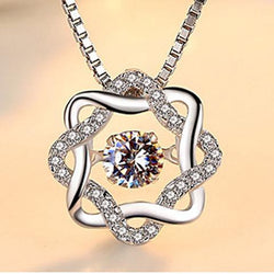 Women Sterling Silver Octagram Necklace -  White Gold Plated CZ Pendant Necklace #HLHD0221