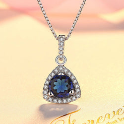 Women Sterling Silver Blue Crystal Necklace -  White Gold Plated Pendant Necklace #YHD0376