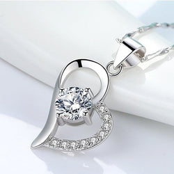 Women Heart Necklace -  White Gold Plated Cubic Zirconia Pendant Necklace #WHA07