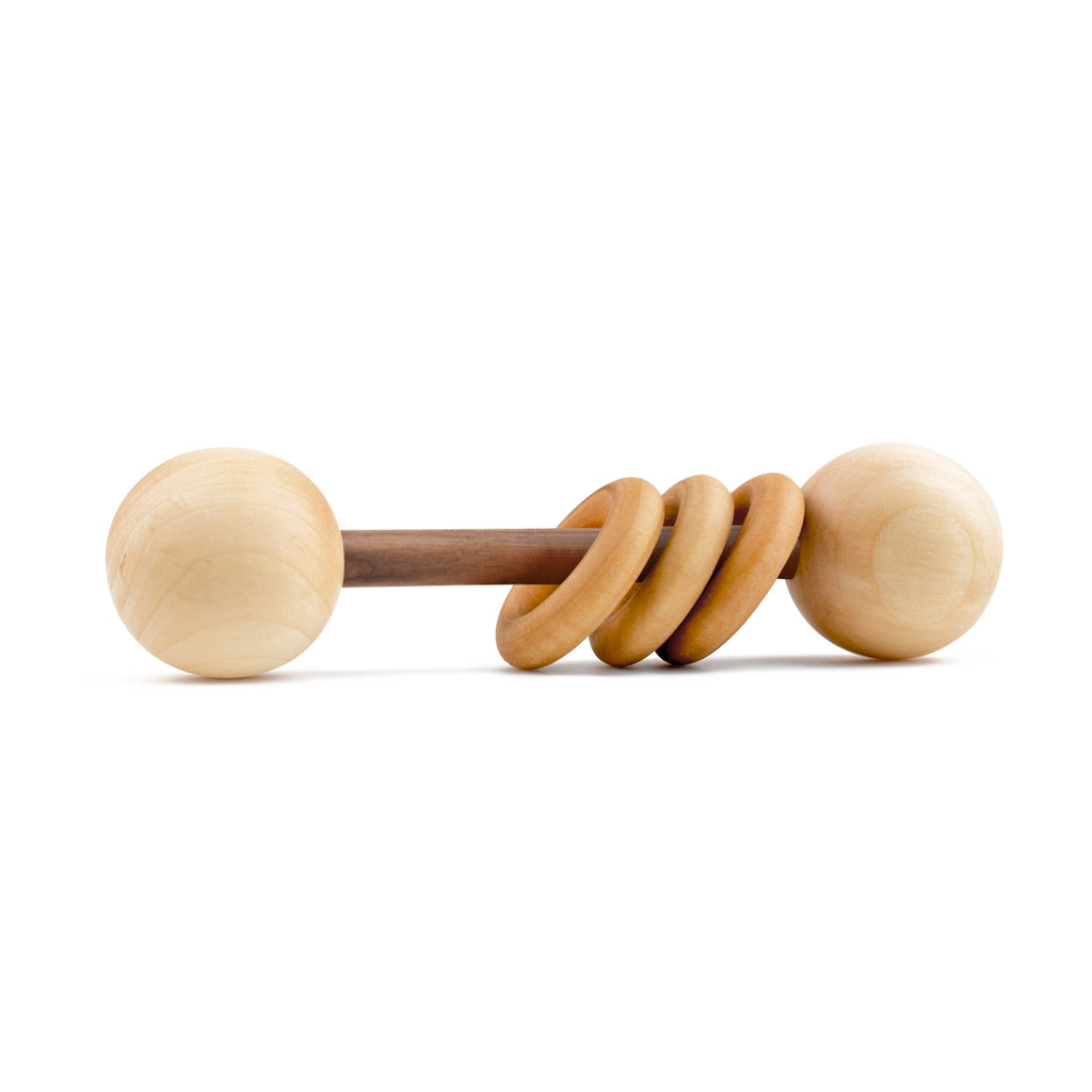 Homi Baby Classic Organic Wood Rattle - Dark Walnut