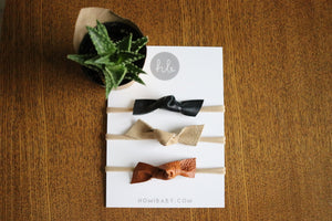 Hand Tied Leather Bows