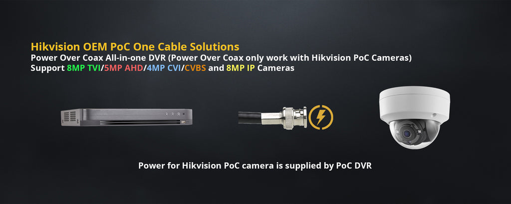 hikvision power over coax 5mp hd-tvi cameras, 4k dvr, 5mp tvi dome, 5mp tvi turret, 5mp tvi bullet, power over coax camera, power over coax system, 5mp tvi motorized dome, 5mp tvi motorized bullet, 5mp tvi motorized turret, hivkision 8ch dvr, 16ch dvr