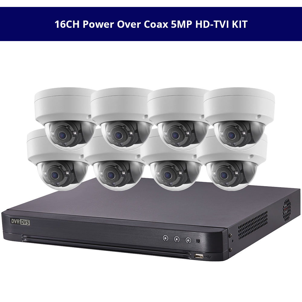 Hikvisiion 16CH Power Over Coax 5MP HD-TVI KIT, 16CH PoC 4K DVR with 8 x 5MP HD-TVI PoC 2.8mm Fixed Dome Security Cameras