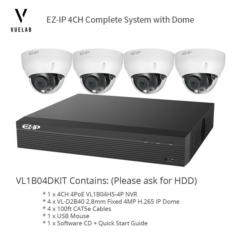 DAHUA NVR1B04HS-4P 4CH 4PoE H.265 NVR Security System NO HDD 4 x IPC-D2B40 H.265 4MP IP 2.8mm Dome Cameras + 4 x 100ft CAT5e Cables