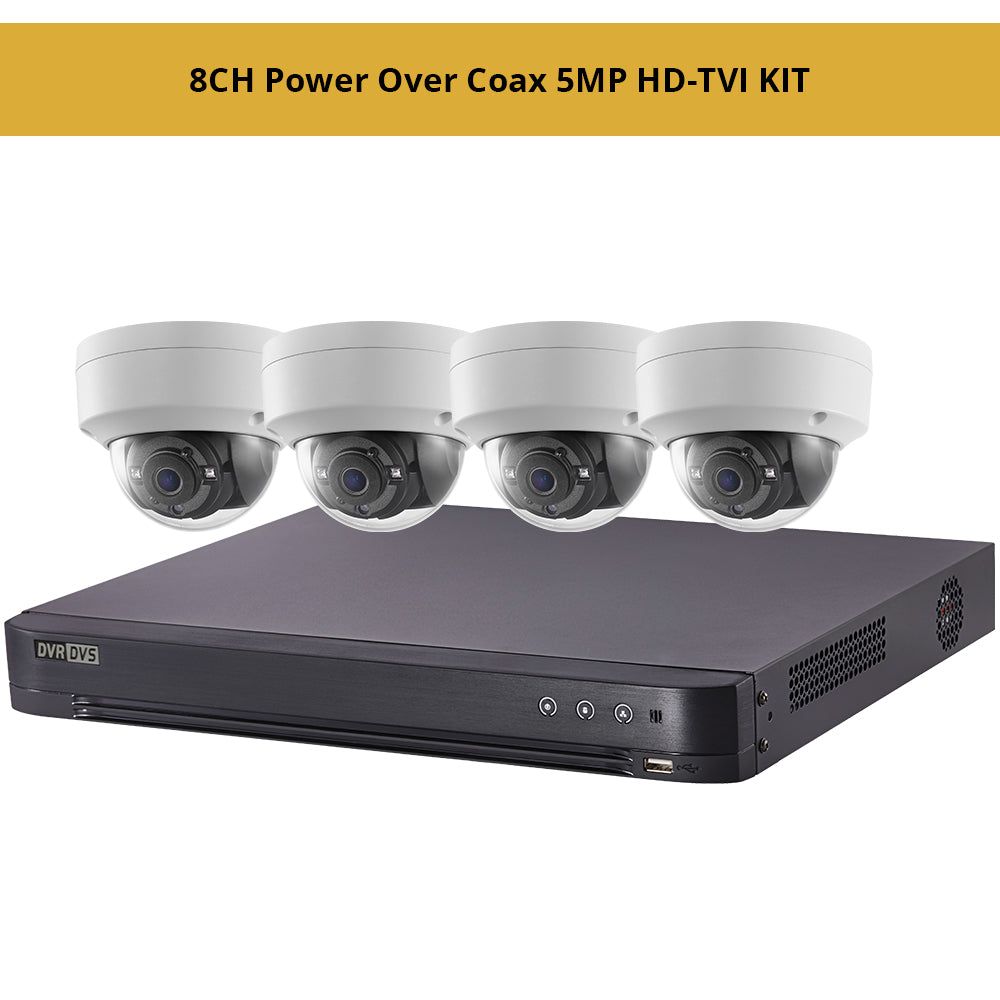 Hikvisiion 8CH Power Over Coax 5MP HD-TVI KIT, 8CH PoC 4K DVR with 4 x 5MP HD-TVI PoC 2.8mm Fixed Dome Security Cameras
