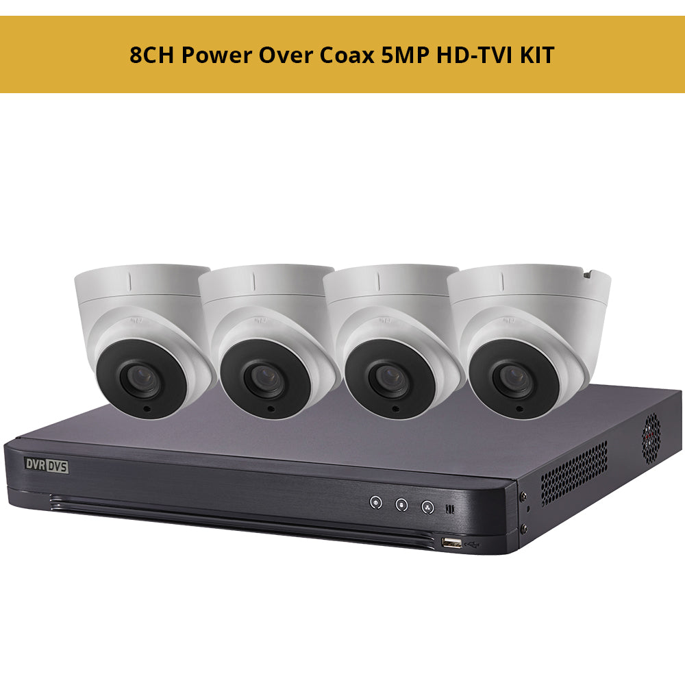 Hikvisiion 8CH Power Over Coax 5MP HD-TVI KIT, 8CH PoC 4K DVR with 4 x 5MP HD-TVI PoC 2.8mm Fixed Turret Security Cameras