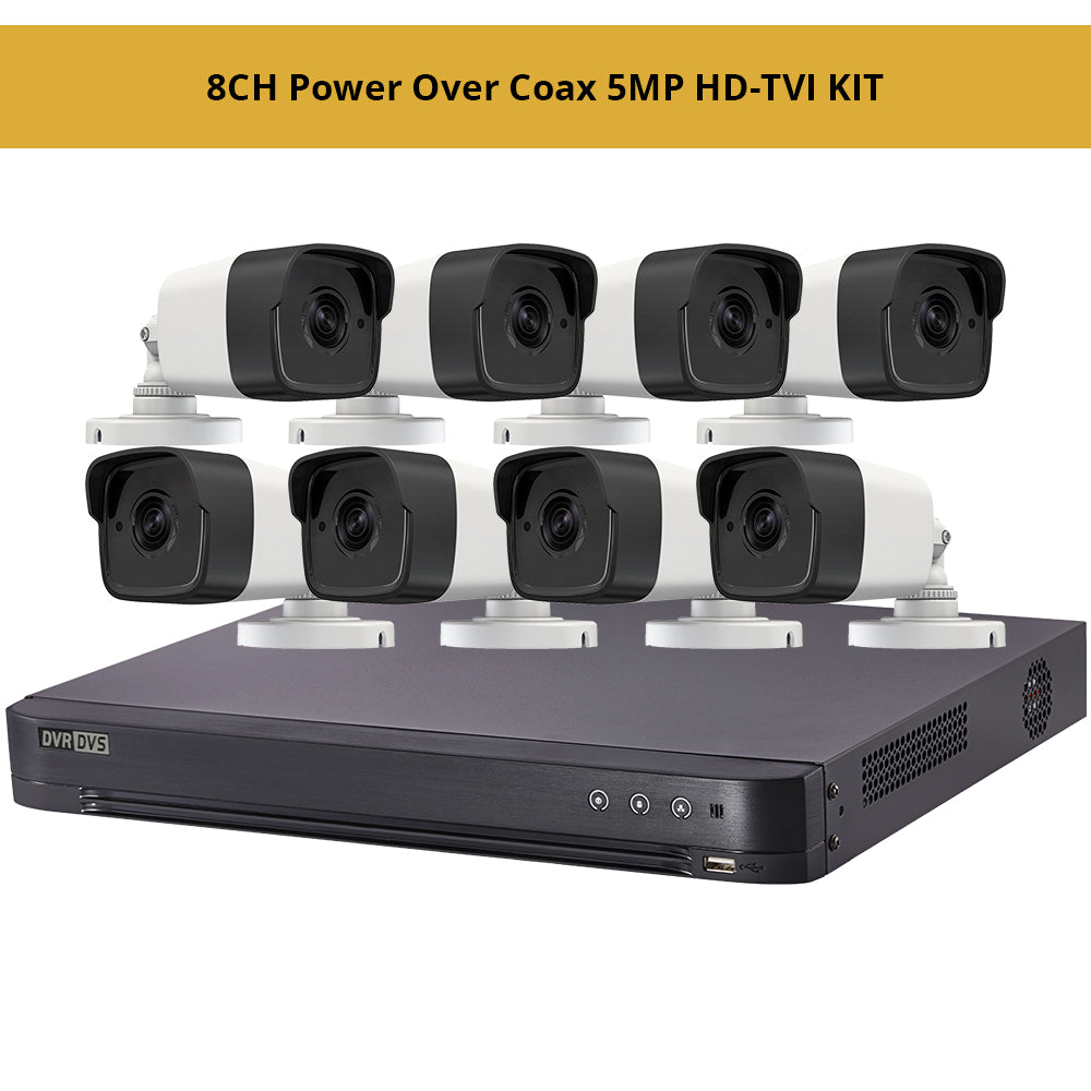 Hikvisiion 8CH Power Over Coax 5MP HD-TVI KIT, 8CH PoC 4K DVR with 8 x 5MP HD-TVI PoC 2.8mm Fixed Bullet Security Cameras