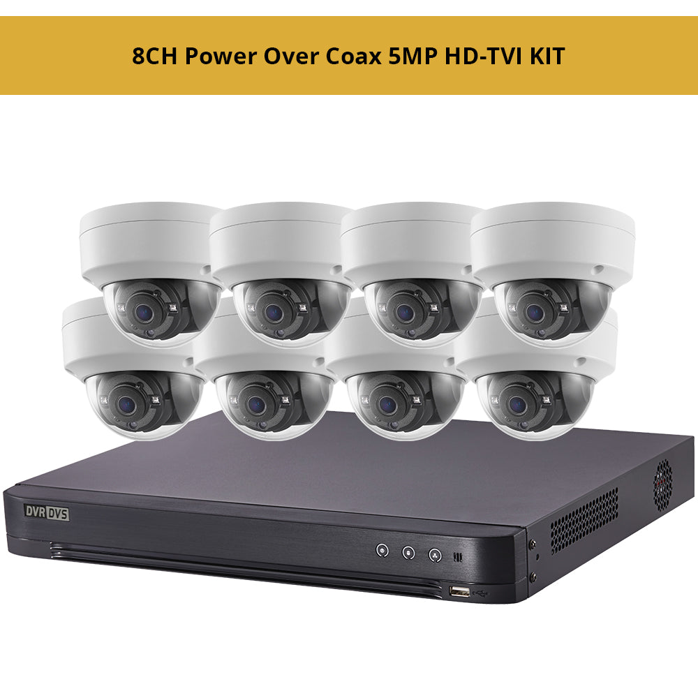 Hikvisiion 8CH Power Over Coax 5MP HD-TVI KIT, 8CH PoC 4K DVR with 8 x 5MP HD-TVI PoC 2.8mm Fixed Dome Security Cameras