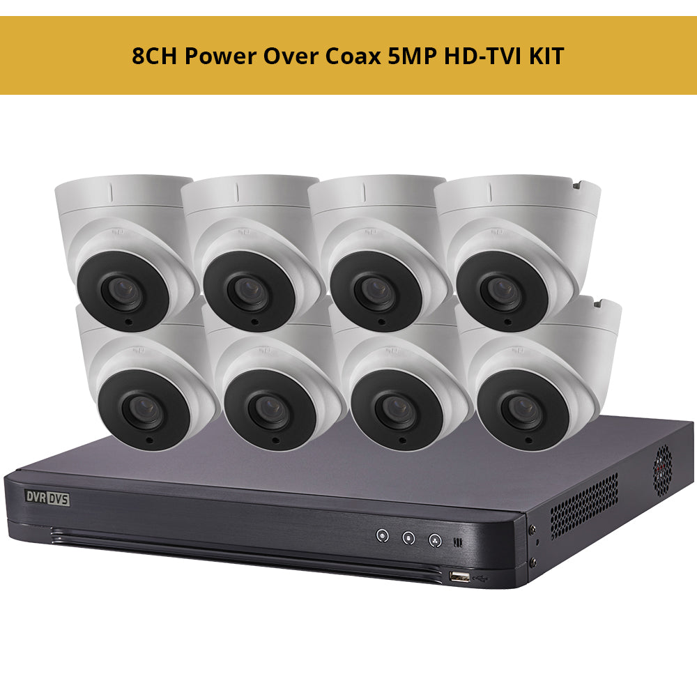 Hikvisiion 8CH Power Over Coax 5MP HD-TVI KIT, 8CH PoC 4K DVR with 8 x 5MP HD-TVI PoC 2.8mm Fixed Turret Security Cameras