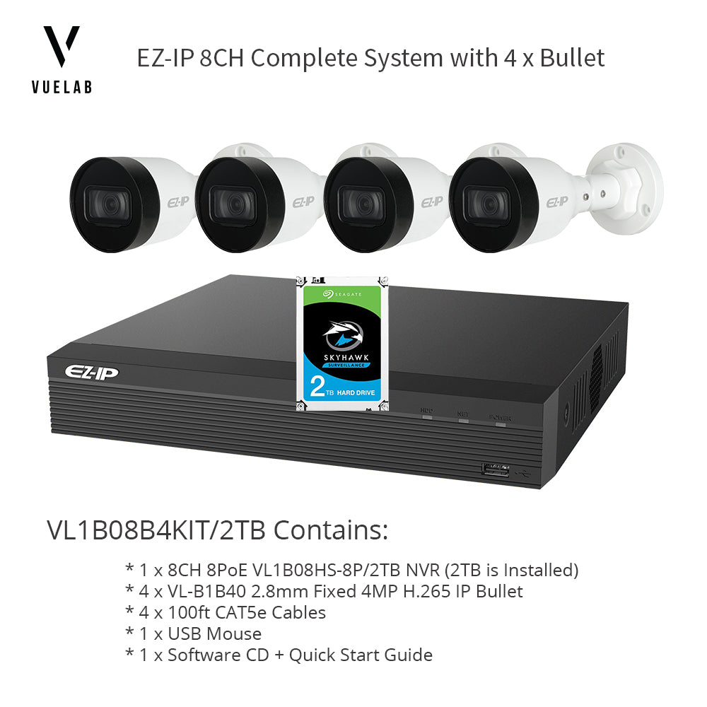 VL1B08B4KIT/2TB, 8CH 8PoE Security System H.265 NVR 2TB Installed 4 x H.265 4MP IP 2.8mm Bullet Cameras + 4 x 100ft CAT5e Cables