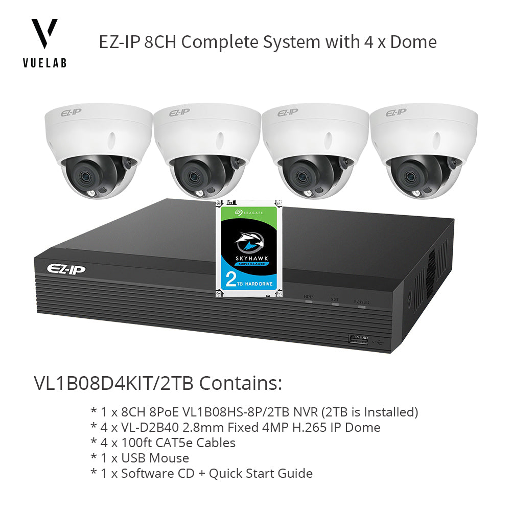 VL1B08D4KIT/2TB, 8CH 8PoE H.265 NVR Security System 2TB Installed 4 x H.265 4MP IP 2.8mm Dome Cameras + 4 x 100ft CAT5e Cables