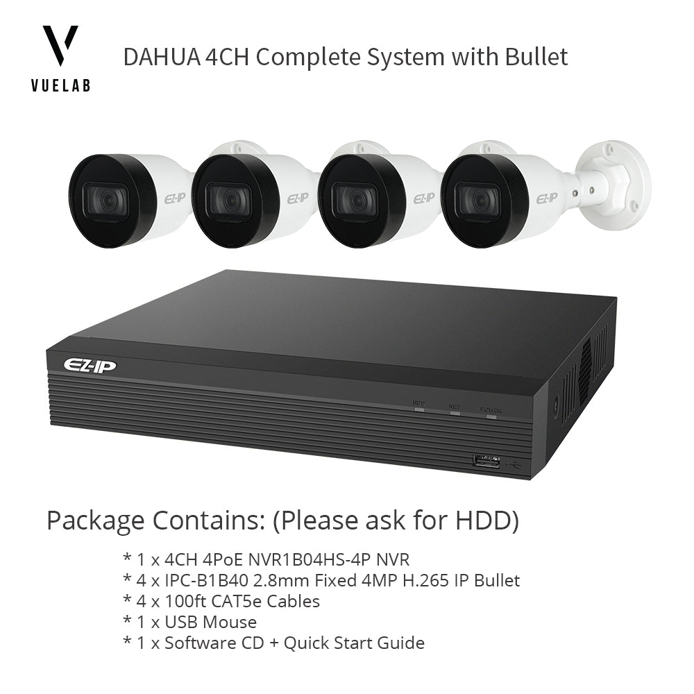 DAHUA NVR1B04HS-4P 4CH 4PoE H.265 NVR Security System NO HDD 4 x IPC-B1B40 H.265 4MP IP 2.8mm Bullet Cameras + 4 x 100ft CAT5e Cables