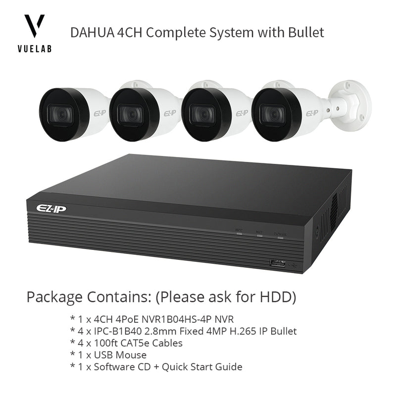 DAHUA NVR1B04HS-4P 4CH 4PoE H 265 NVR Security System NO HDD 4 x IPC-B1B40  H 265 4MP IP 2 8mm Bullet Cameras + 4 x 100ft CAT5e Cables