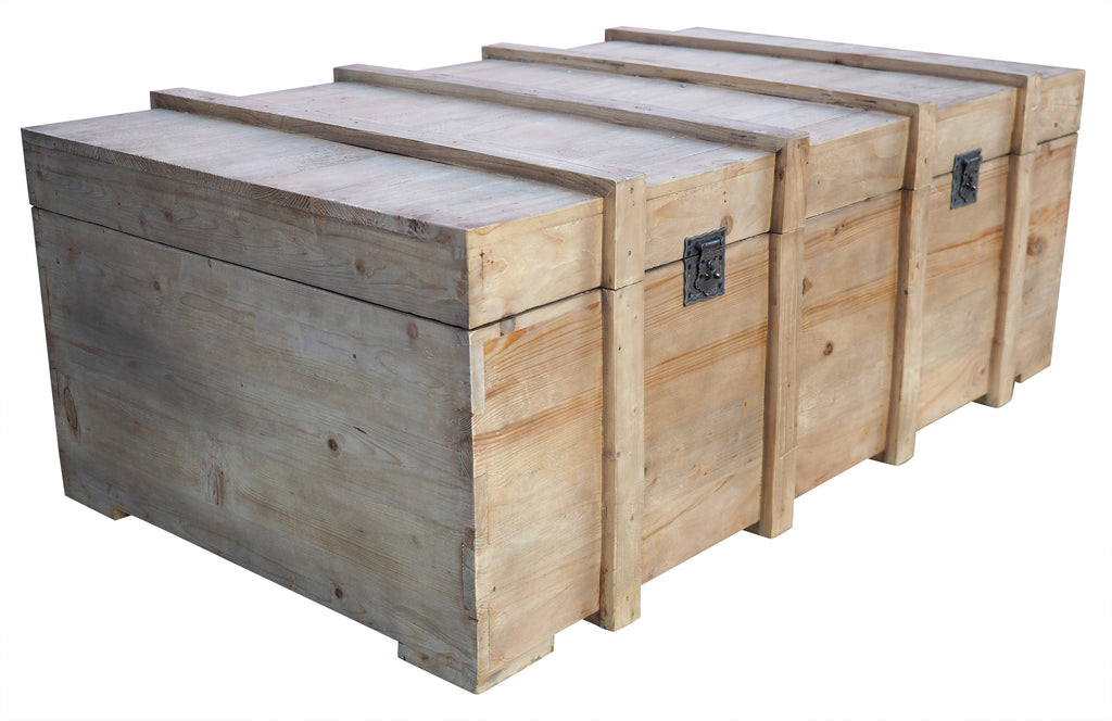 Rustic Coffee Table Chest Blanket Toy Box Trunk