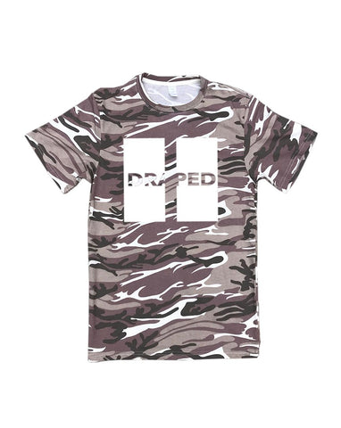 Up white print tan camo tee- unisex