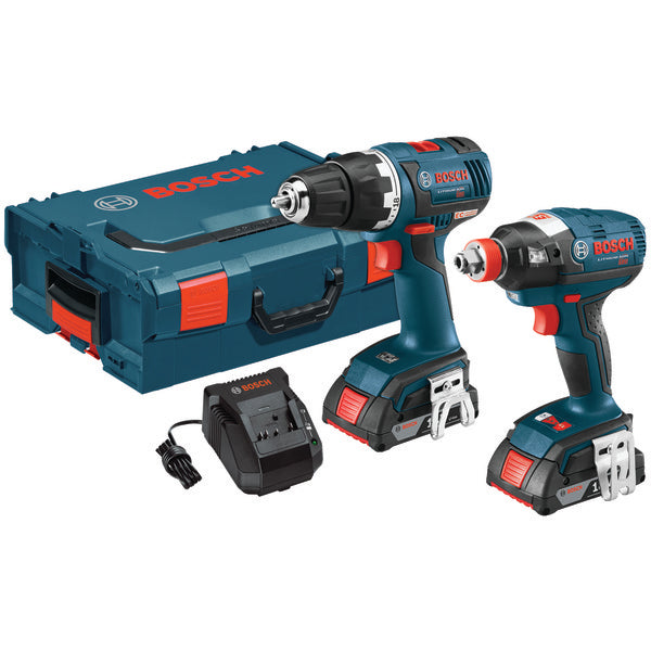 "Bosch CLPK233-181 Brushless 1-4"" & 1-2"" Socket-Ready Impact Driver & Brushless Compact Tough 1-2"" Drill-Driver 18-Volt Cordless Combo Kit-Appliance Accessories Tools & RTO-Bosch-Luxurychill"