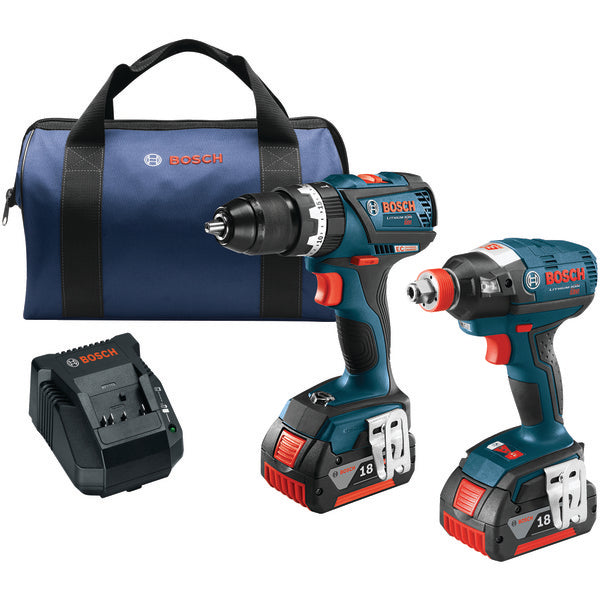 "Brushless 1-4"" & 1-2"" Socket-Ready Impact Driver & Brushless Compact Tough 1-2"" Hammer Drill-Driver 18-Volt Cordless Combo Kit-Appliance Accessories Tools & RTO-Bosch-Luxurychill"
