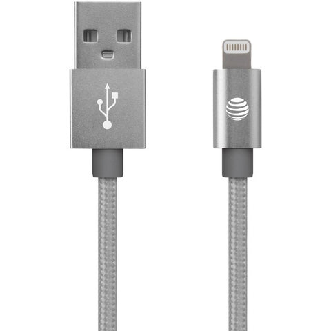 AT&T SC03B-LGT-SLV Charge & Sync Braided USB to Lightning Cable, 4ft (Silver)-At&t-At&t-Luxurychill